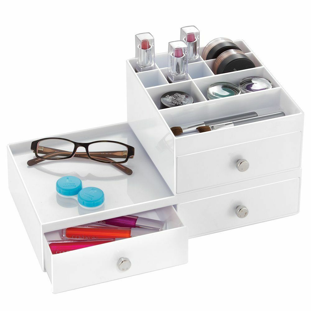 Stacking 2 drawer wide counter top vanity organization for Makeup dresser drawers