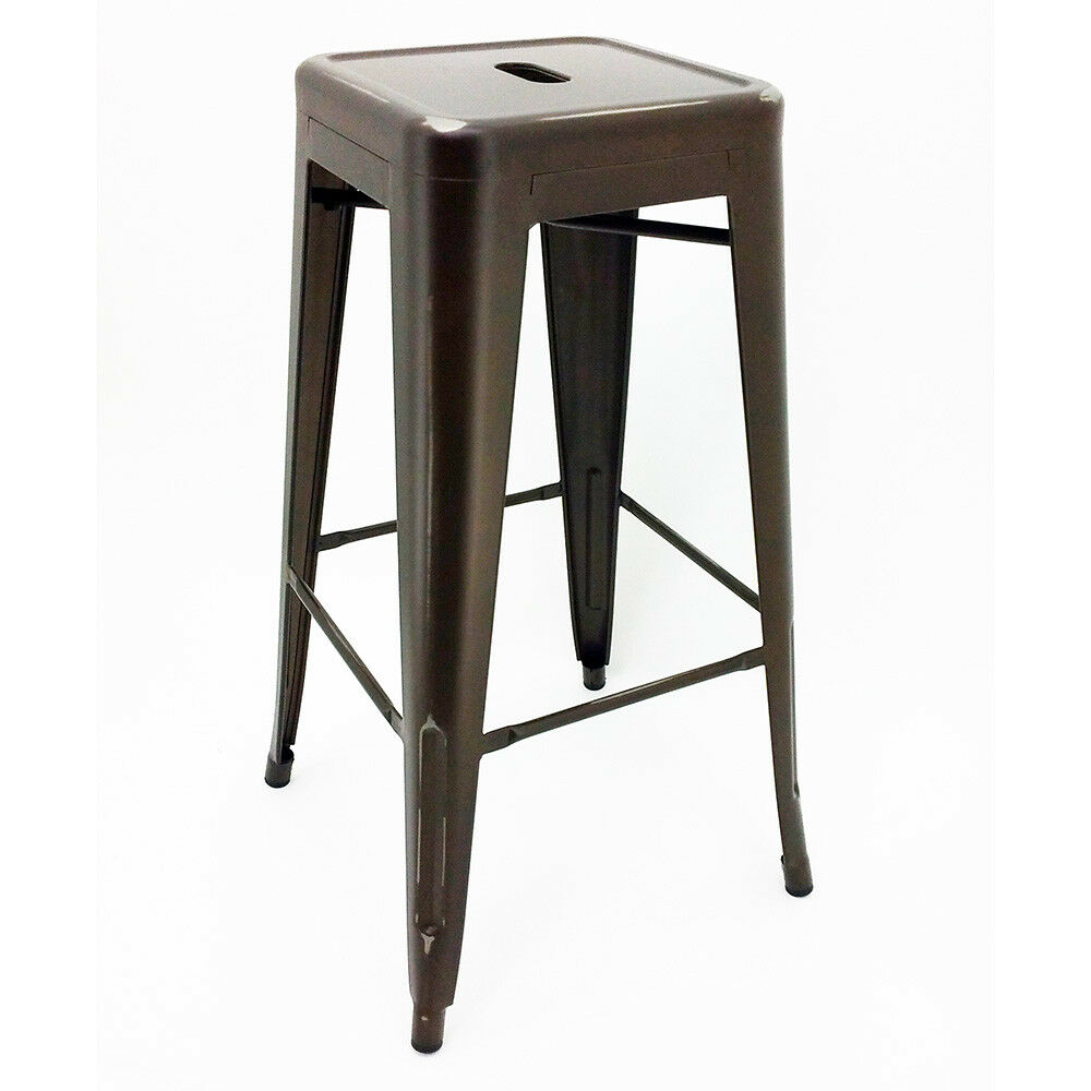 New Modern Steel 30 Quot Barstool Set Of 4 Tolix Style Bar