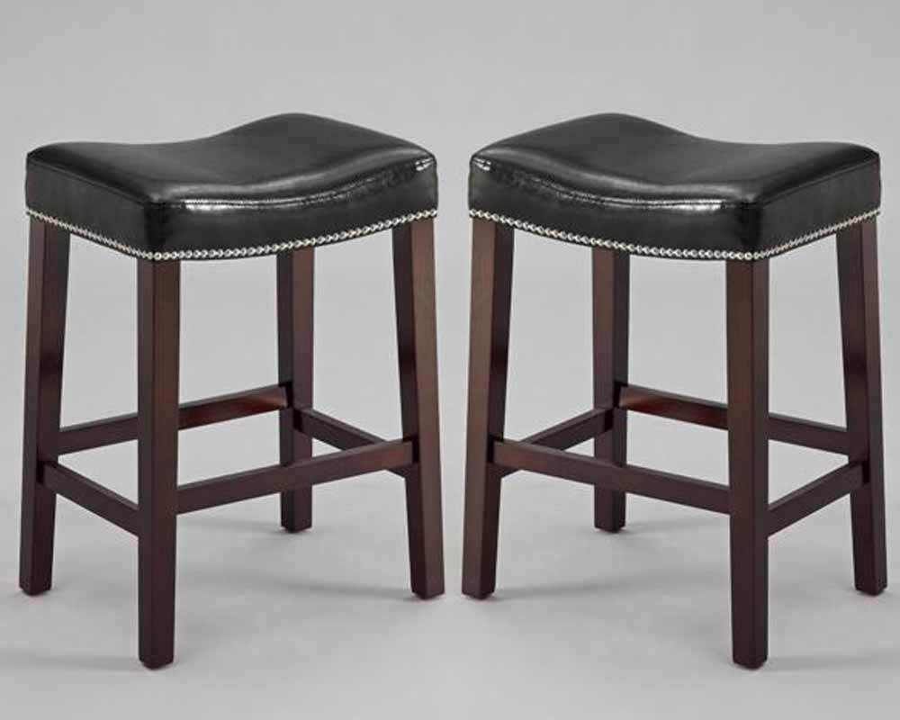 Set Of 2 Nadia Saddle 24 Quot H Counter Stools Chairs Black Pu
