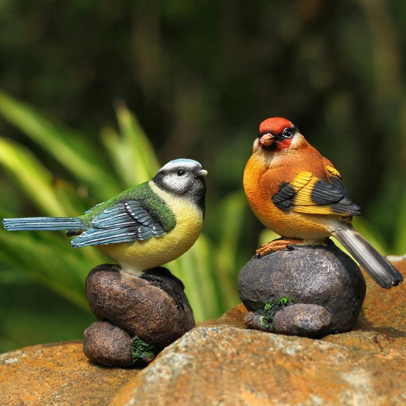 New resin bird on stone garden yard home room decoration for Decorative birds for outside