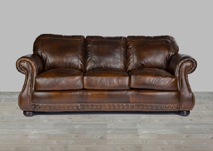 Brown Leather Sofa 100 Top Grain Chesterfield Nailhead Trim Down Blend New Ebay