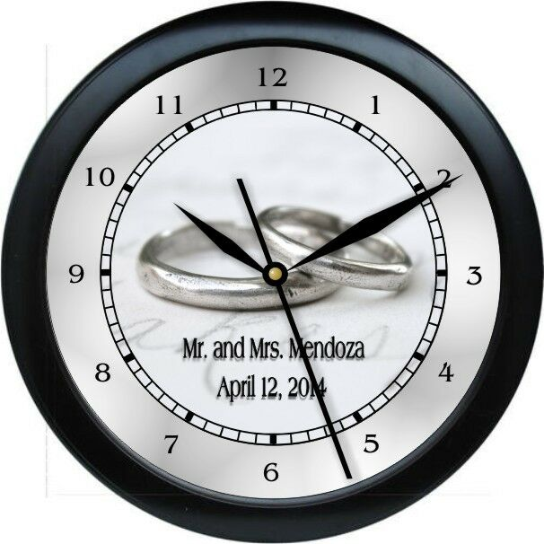 Personalised Clock Wedding Gift India : Personalized Silver Wedding Ring Wall Clock Bride Groom Marriage Gift ...