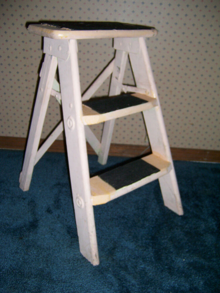 Vintage Wooden 2 Step Folding Step Stool Ladder Shabby