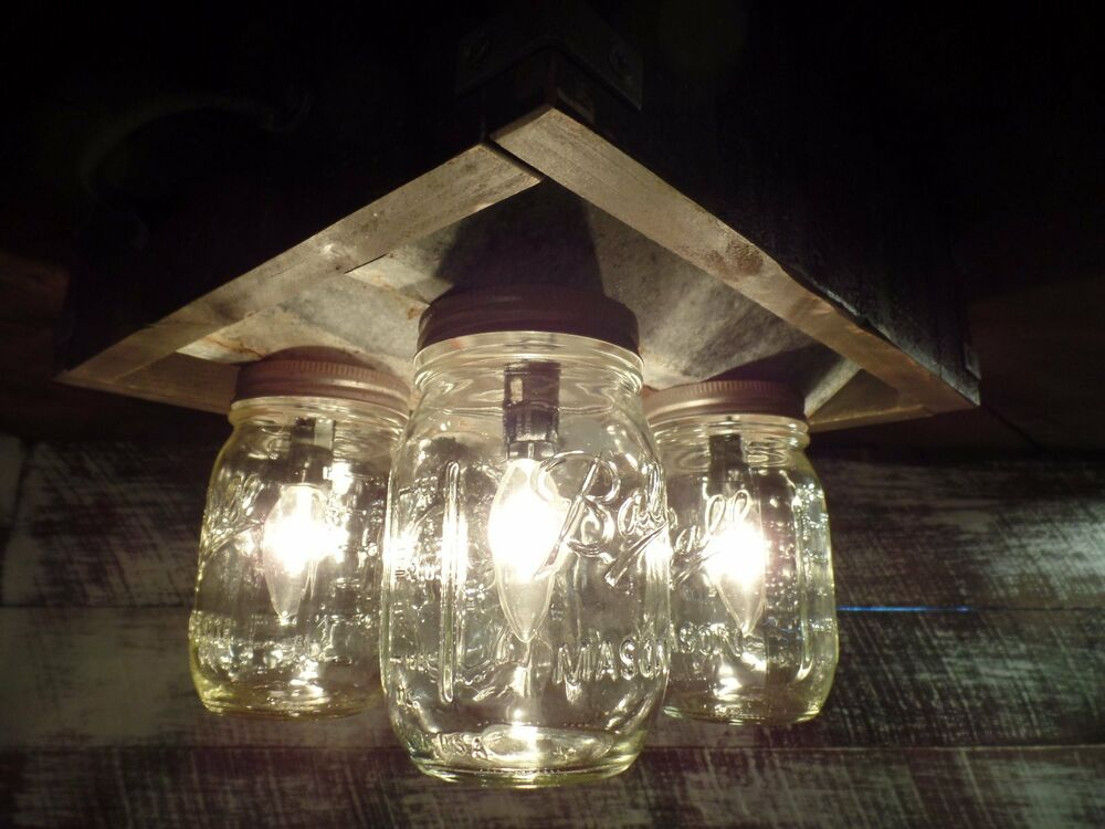 handmade mason jar barn box farmhouse ceiling light fixture 4 light ebay. Black Bedroom Furniture Sets. Home Design Ideas