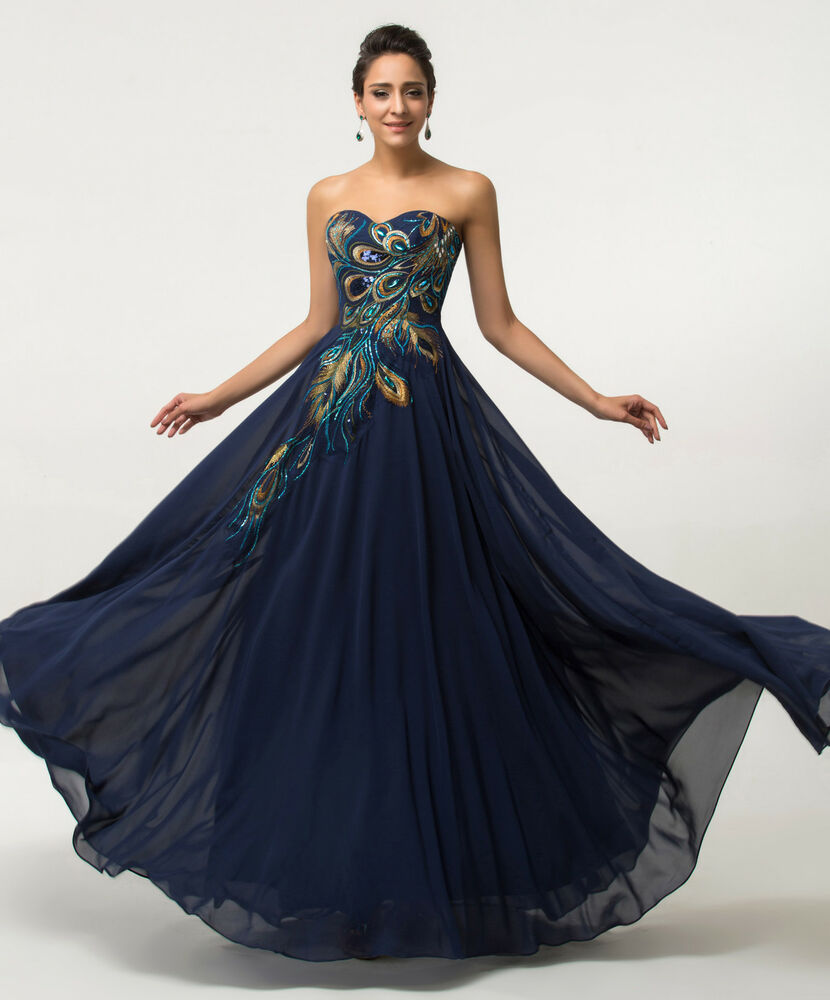PLUS SIZE Peacock Long Chiffon Evening Formal Party Dresses Bridesmaid Prom Gown
