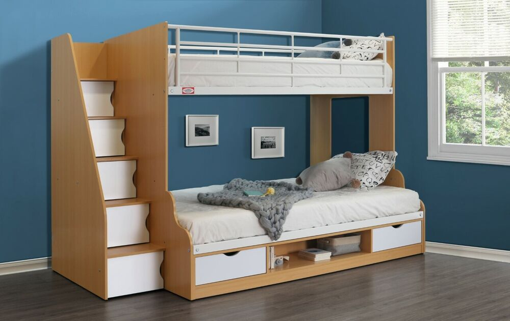 Trio Bunk Bed With Storage Staircase 3ft Single 4ft