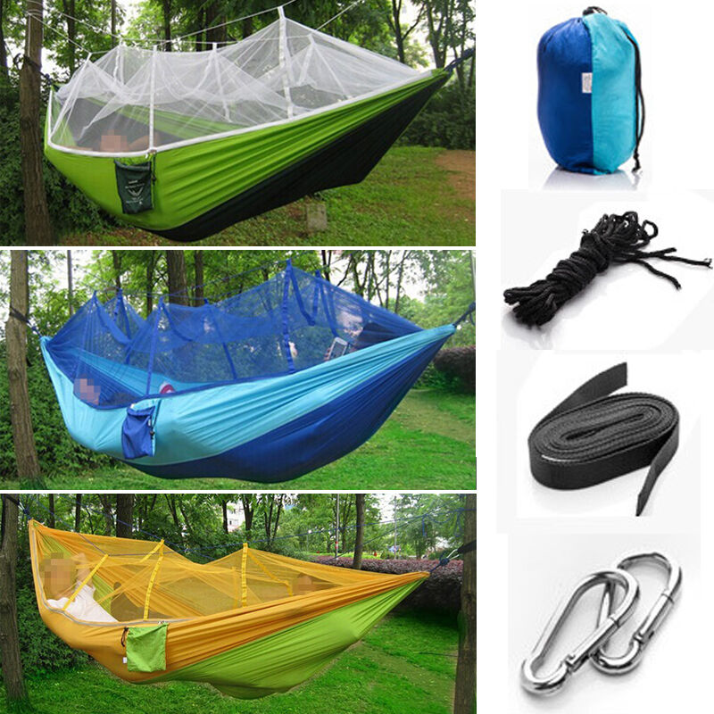 Portable hammocks jungle camping mosquito net outdoor for Net hammock bed