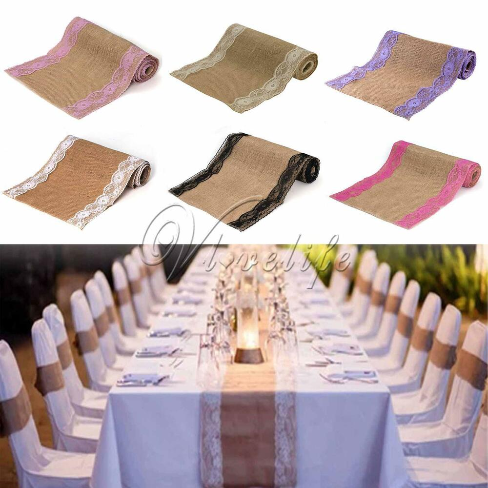 75mx30cm lace vintage natural burlap jute hessian table runner cloth