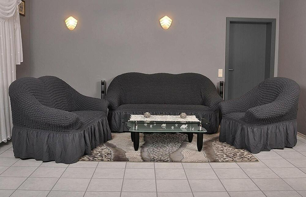 sofabezug sesselbezug sitzbezug 3er 2er 1er sofa bezug husse berwurf anthrazit ebay. Black Bedroom Furniture Sets. Home Design Ideas