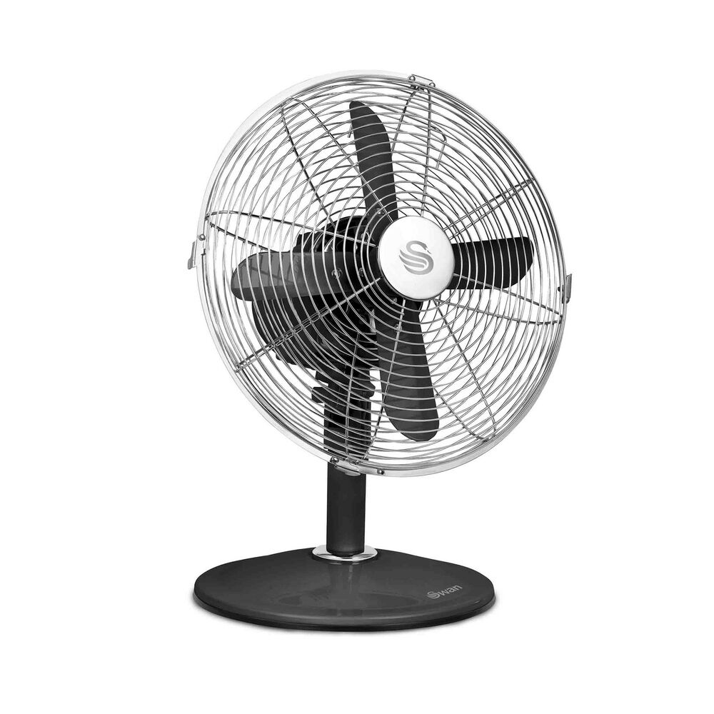 Swan Vintage 12 Inch Oscillating Desk Fan Black Sfa1010bn