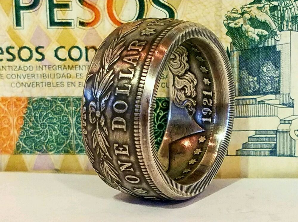 Coin Rings Made From Silver Morgan Dollars Tails Side Out