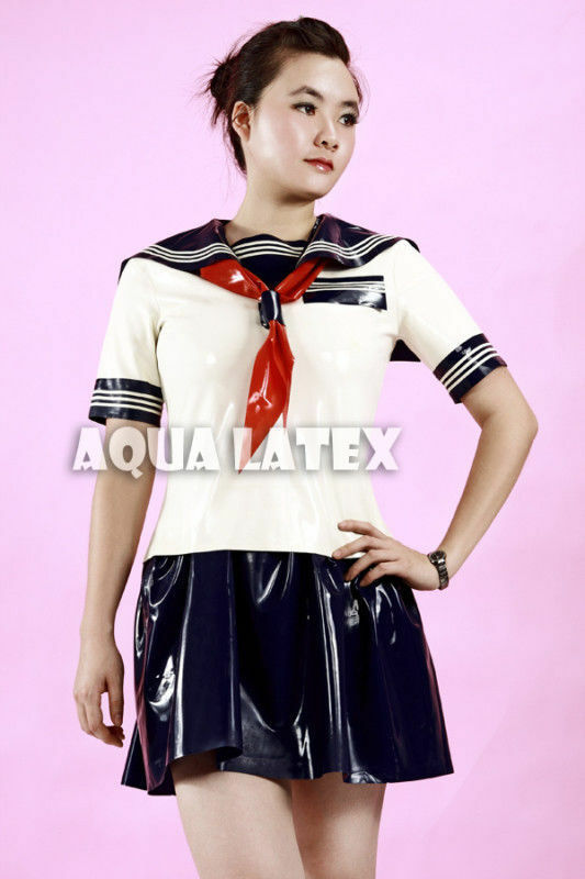 Sexy School Student Rubber Latex Top And Skirt Naval -4549