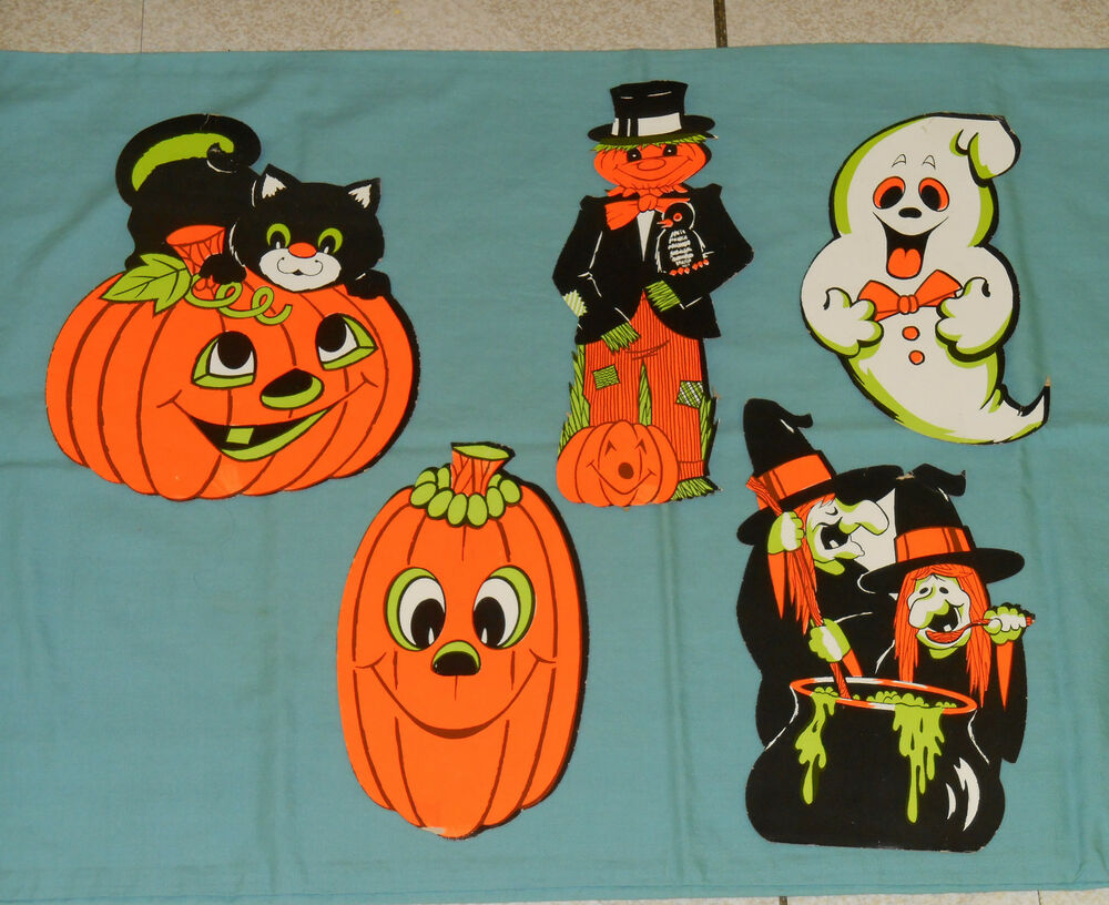 Vintage halloween decorations fluorescent cutouts lot x5 Vintage halloween decorations uk