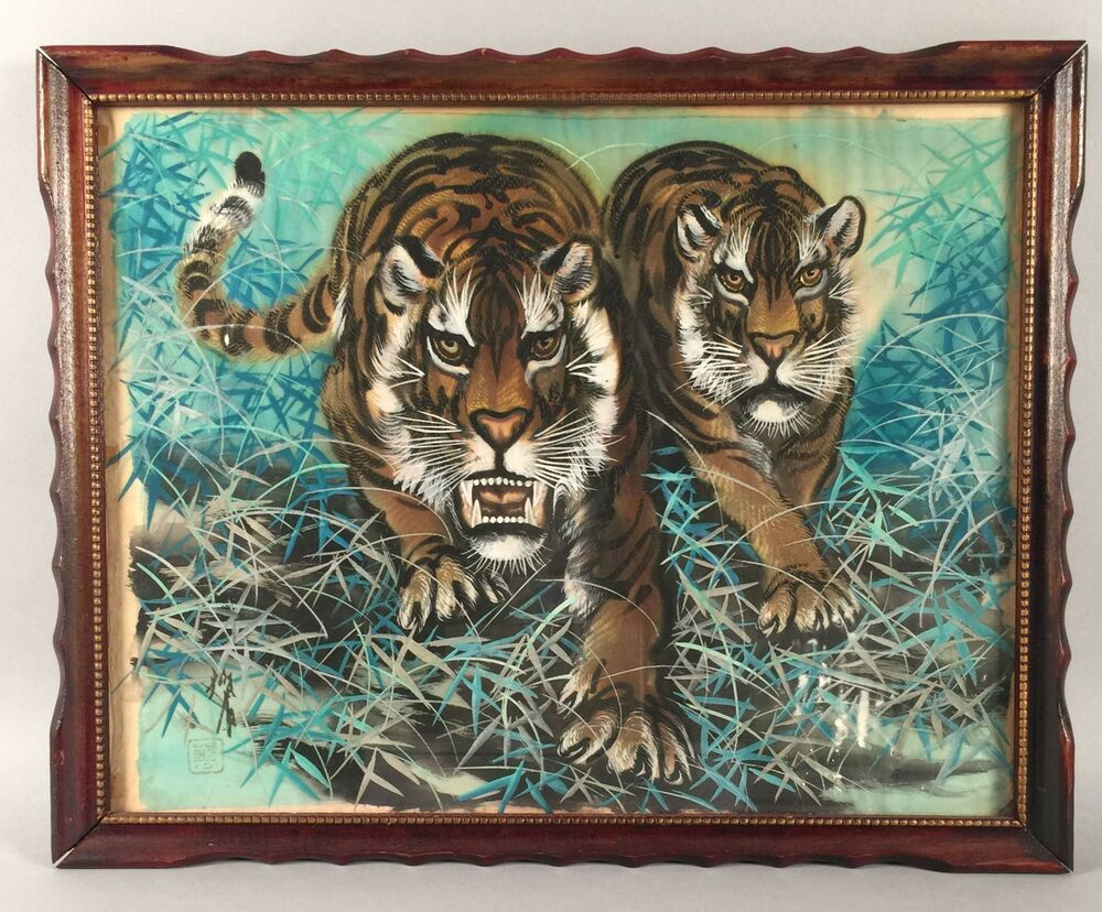 vintage japanese watercolor painting on linen two tigers