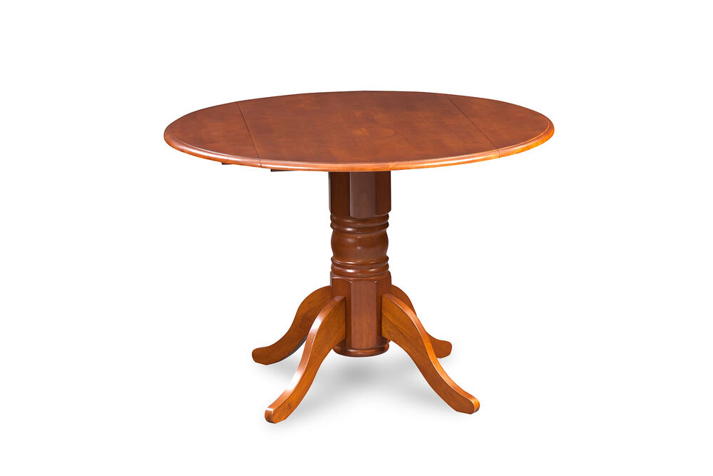 42 round dinette kitchen dining table with 2 drop leaves in saddle