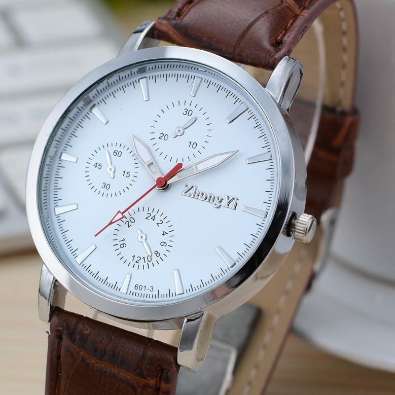 stylish mens wrist business womens leather anolog