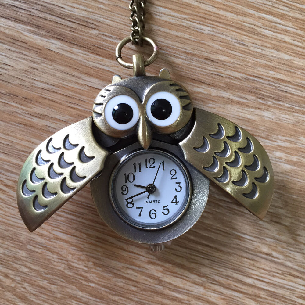 owl clock necklace pocket antique style bronze