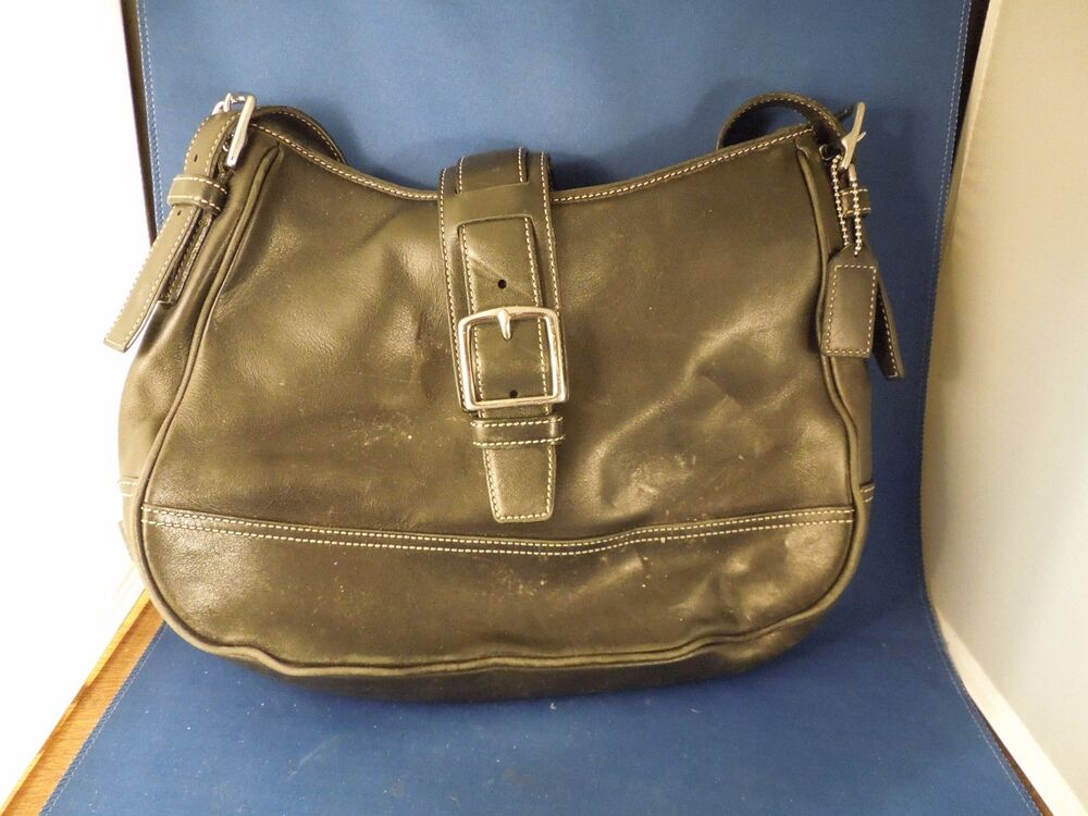 vintage coach purse black leather handbag d26 7583 retro 70s style trend ebay. Black Bedroom Furniture Sets. Home Design Ideas