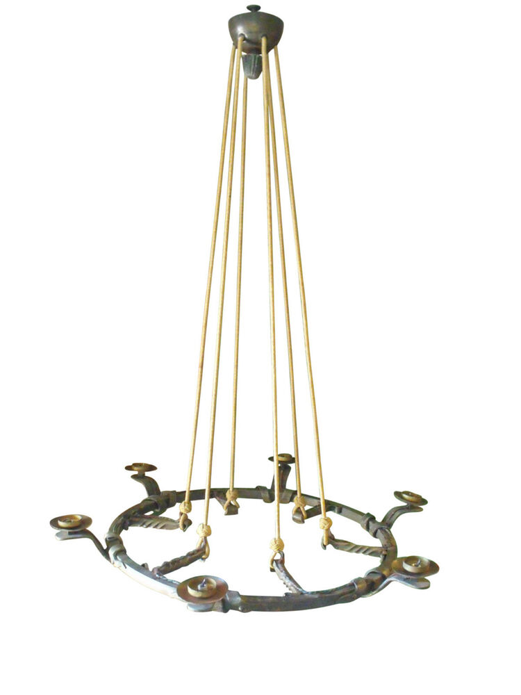 Arts and crafts handmade wrought iron 6 light hanging for Arts and crafts chandelier