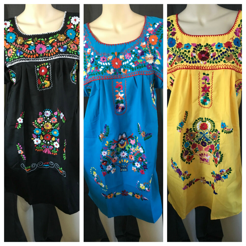ABOVE KNEE EMBROIDERED MEXICAN PEASANT HIPPIE MINI BOHO ...