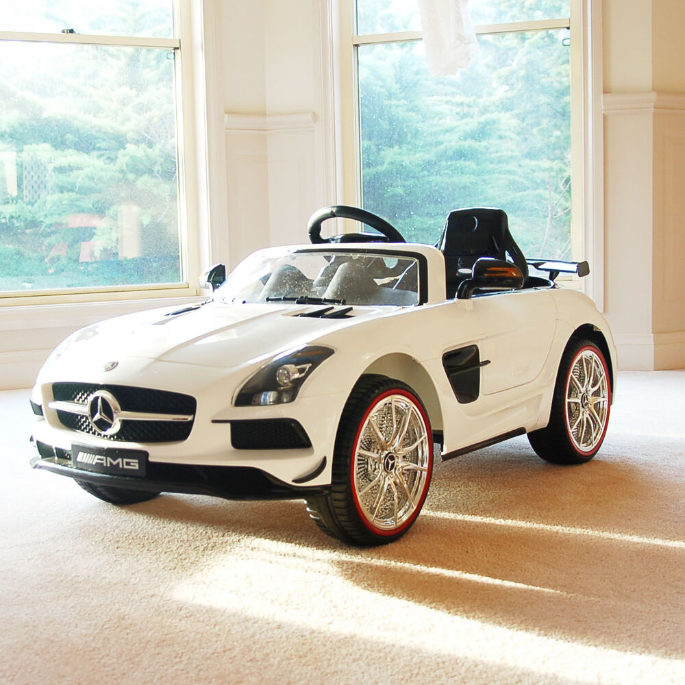 White licensed mercedes benz kids electric ride on car toy for Mercedes benz kids