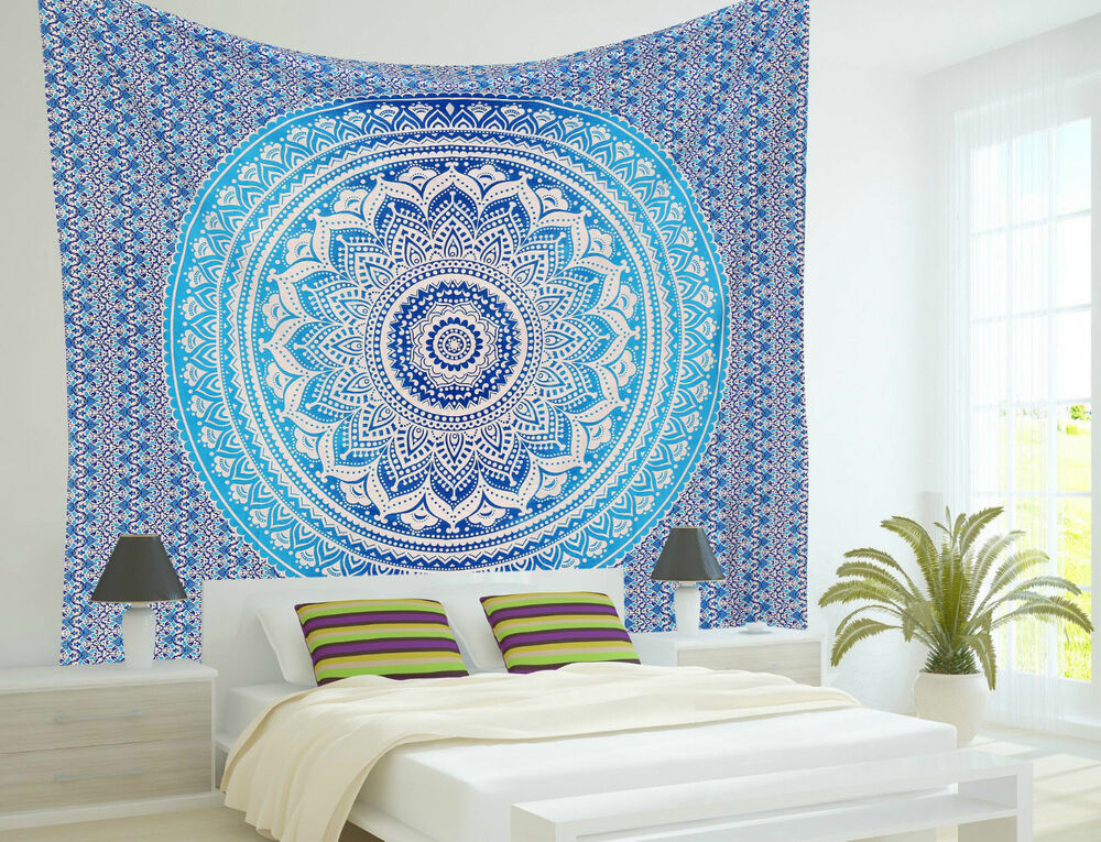 Ombre Indian Mandala Hippie Tapestry Wall Hanging Bedding