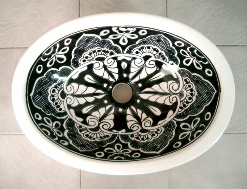 086 Large 21x17 Mexican Bathroom Sink Ceramic Drop In Undermount Basin Ebay