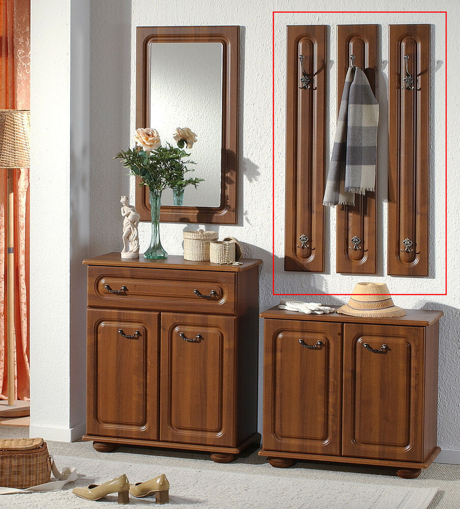wandpaneel 3er set garderobe paneel wandgarderobe kleiderhaken nussbaum dekor ebay. Black Bedroom Furniture Sets. Home Design Ideas