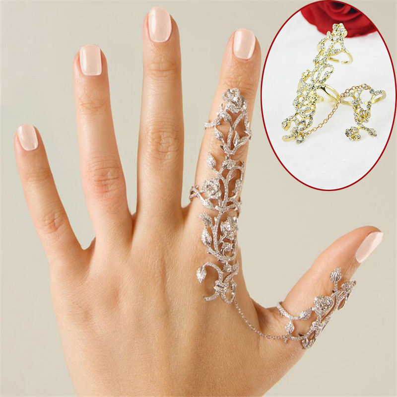 Multiple Finger Stack Knuckle Band Crystal Set Womens Fashion Jewelry