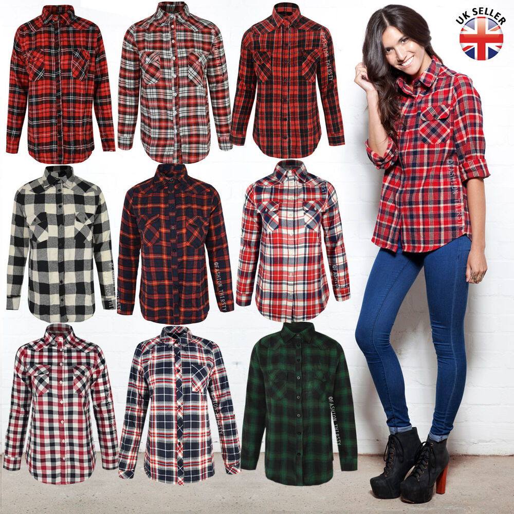 damen kariert lumberjack lang rmlig flanell kn pfe bluse oberteil ebay. Black Bedroom Furniture Sets. Home Design Ideas