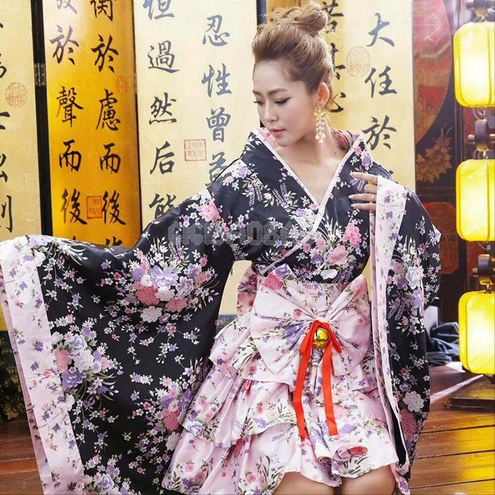 Sexy Kimono Japanese Robe Lolita Maid Uniform Outfit Anime Cosplay Costume Dress | eBay
