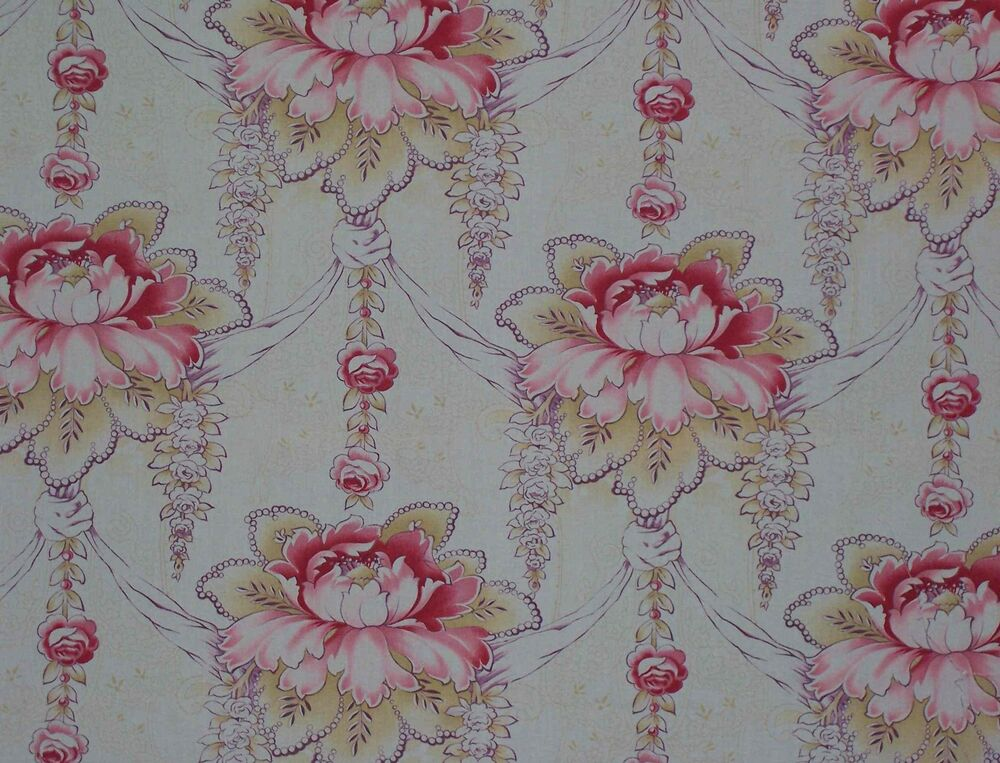 1890 french art nouveau floral upholstery cotton decorator for Decorator fabric
