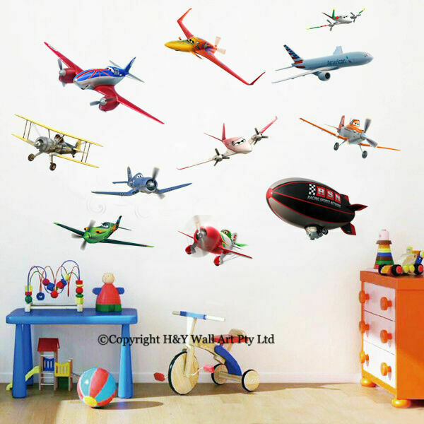 11 pcs disney planes removable wall art stickers kids for Disney planes wall mural