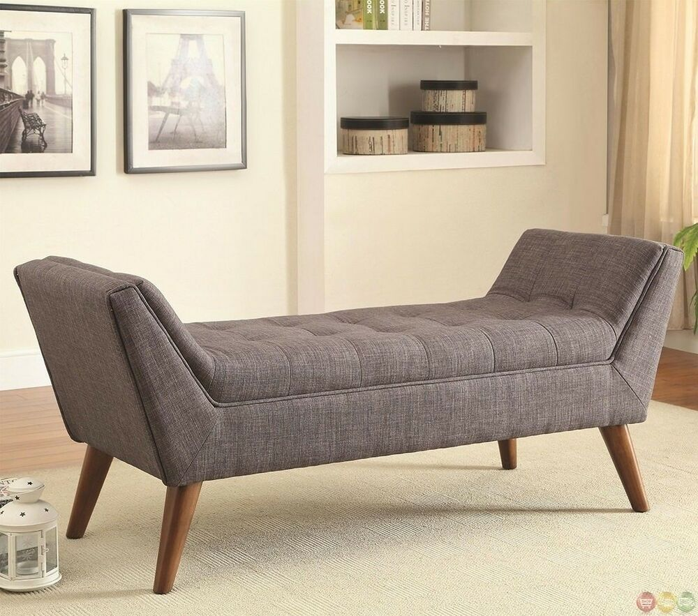 Mid century modern design accent bed bench gray tufted fabric seat wood legs ebay Bed benches