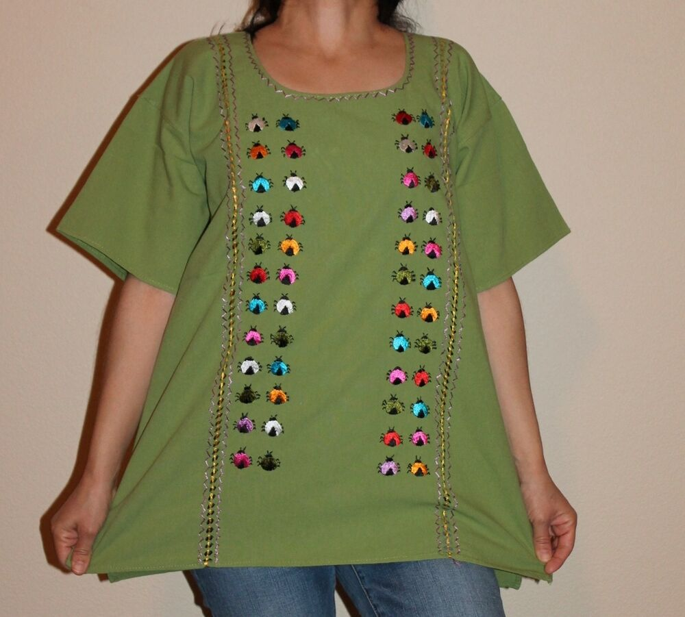 Large peasant boho silk embroidered mexican blouse top