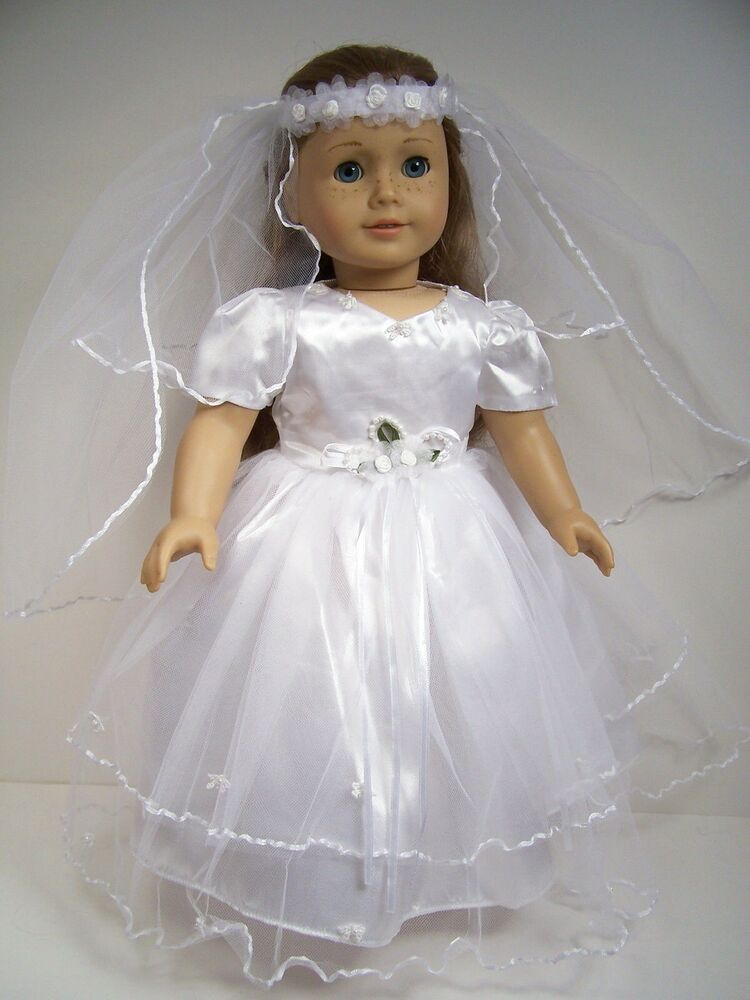 White bride wedding christening dress doll clothes for 18 for American girl wedding dress