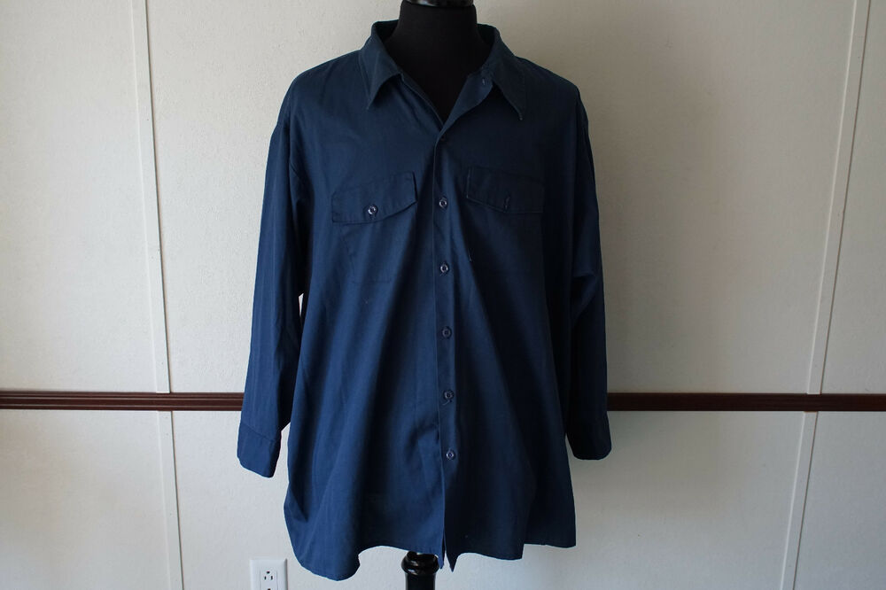 Vintage dickies blue long sleeve work shirt 20x33 made in for Usa made work shirts