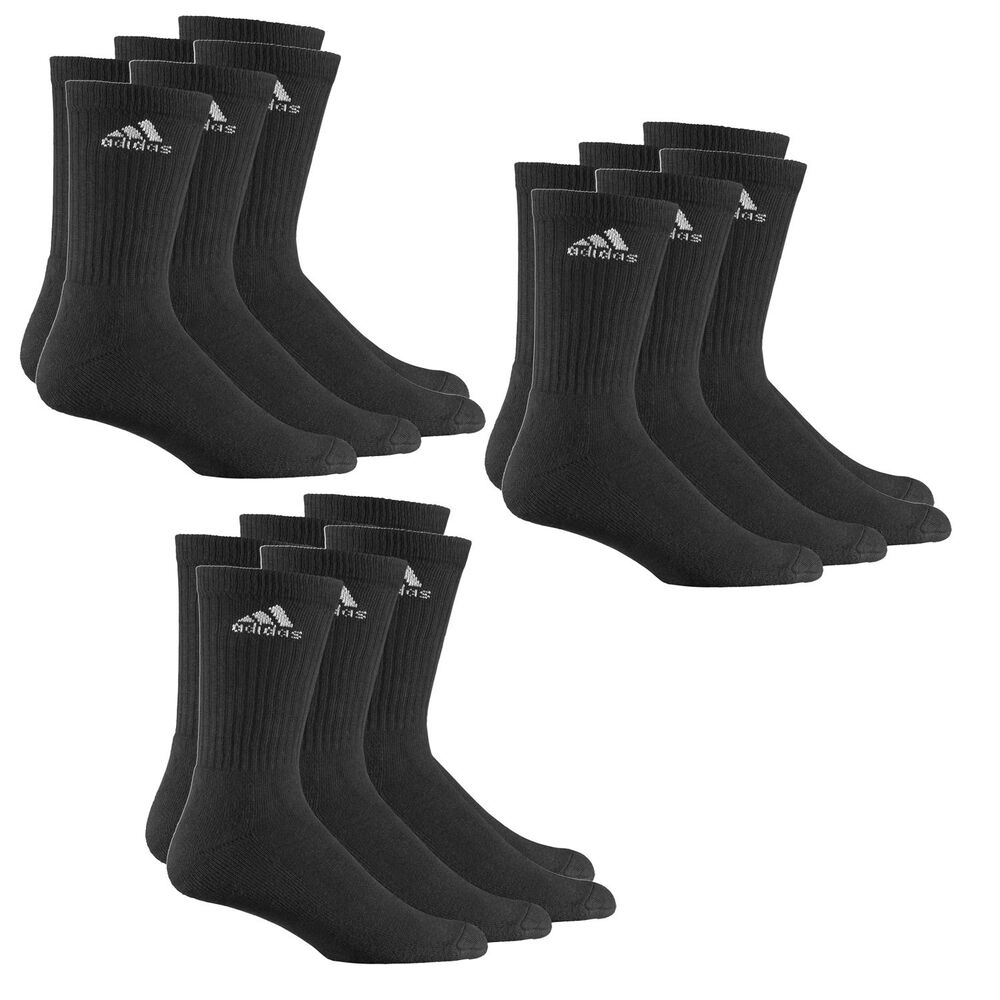 9 paar adidas crew sportsocken schwarz m logo. Black Bedroom Furniture Sets. Home Design Ideas