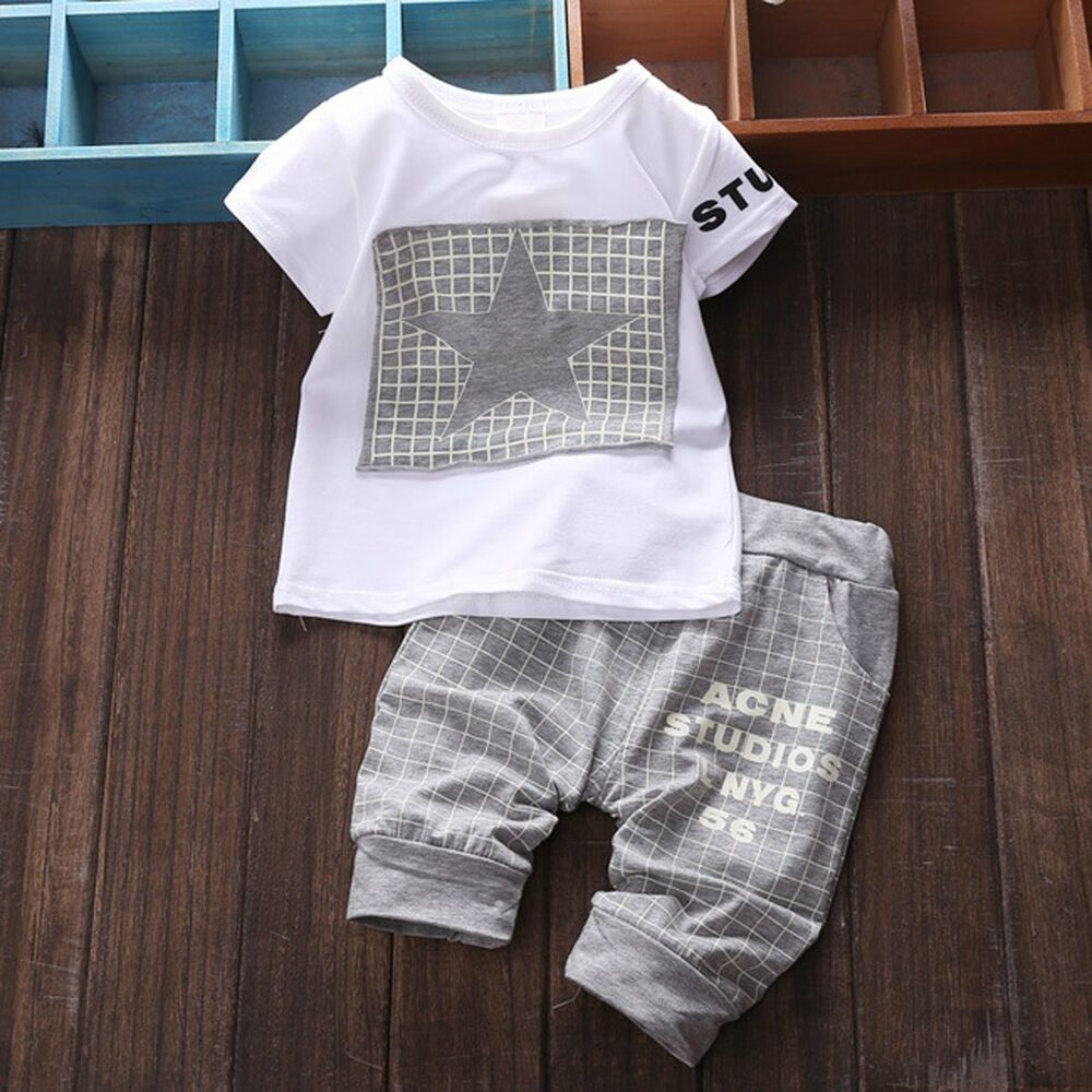 2pcs cotton newborn baby infant boy clothes sets tshirt