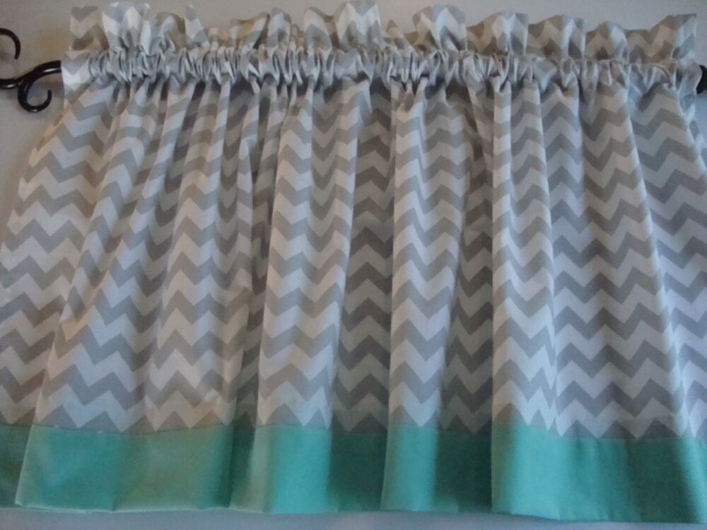 Gray Valances With White Trim : Gray and white chevron valance with mint border or choose