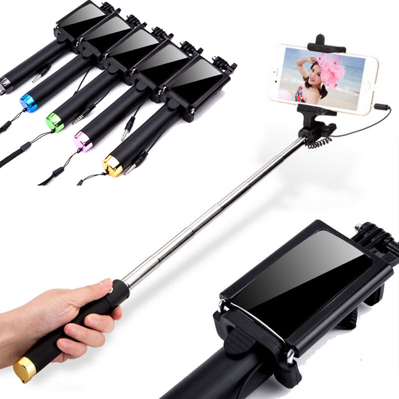 wired bluetooth monopod selfie stick with mirror for cellphone smartphone mobile ebay. Black Bedroom Furniture Sets. Home Design Ideas