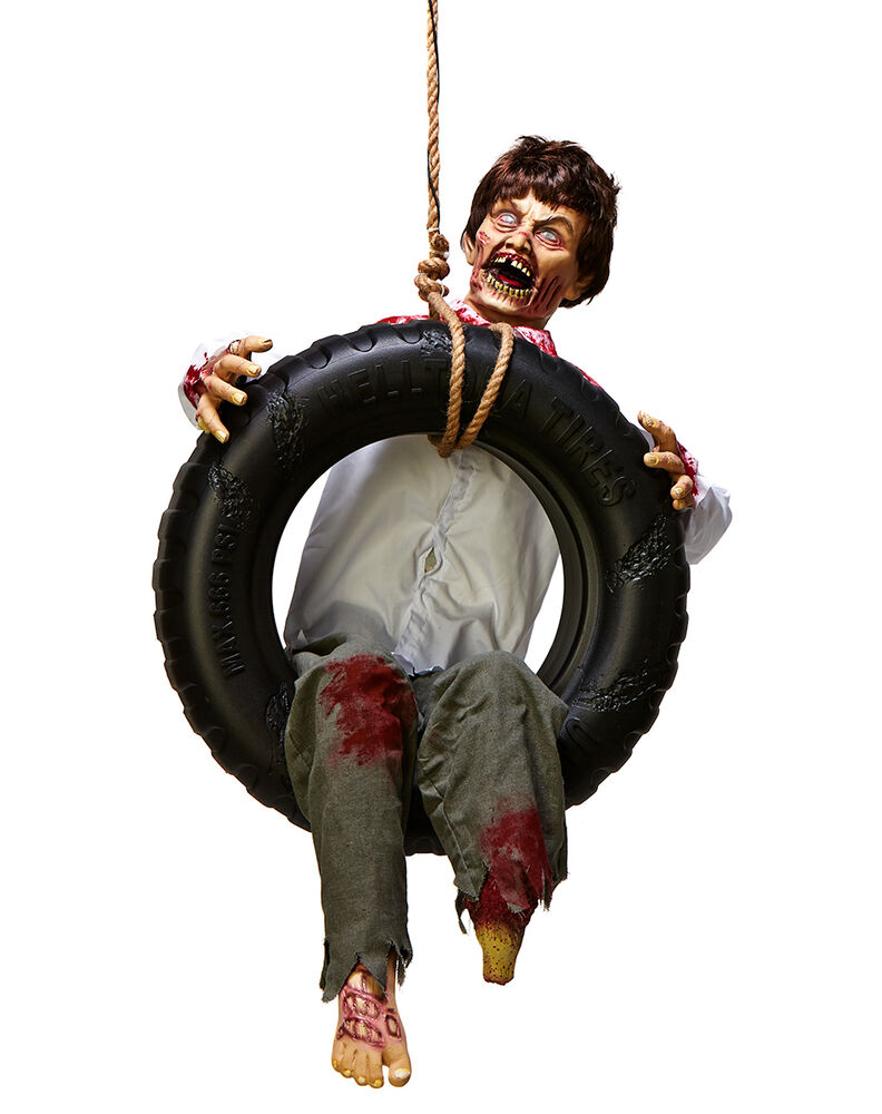 Tire swing zombie boy halloween decoration animated for Animated halloween decoration