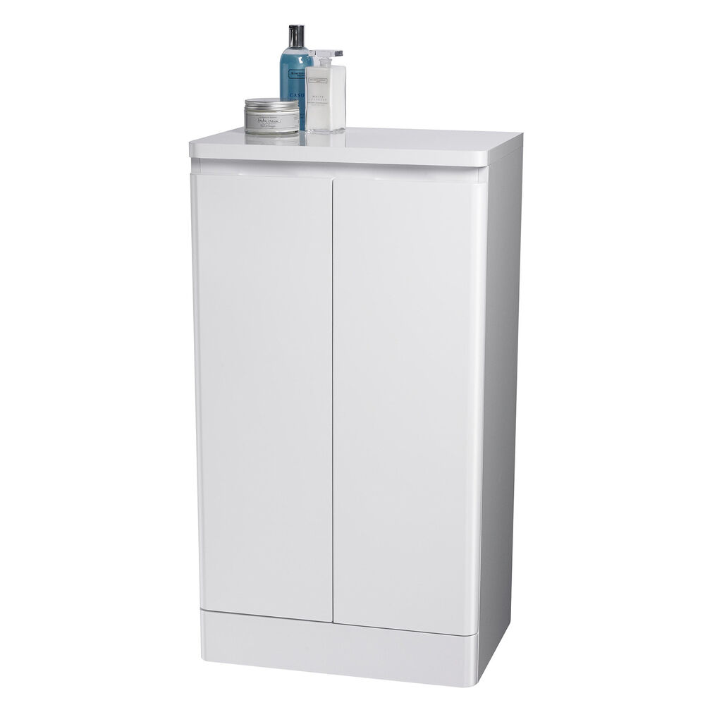 Montreux white double freestanding bathroom floor for Floor standing mirrored bathroom cabinet