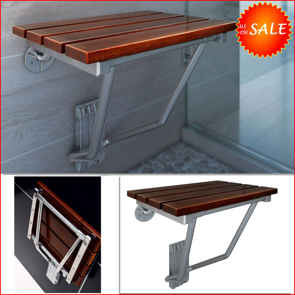 Folding Teak Shower Chair Bath Seat Wood Spa Bench