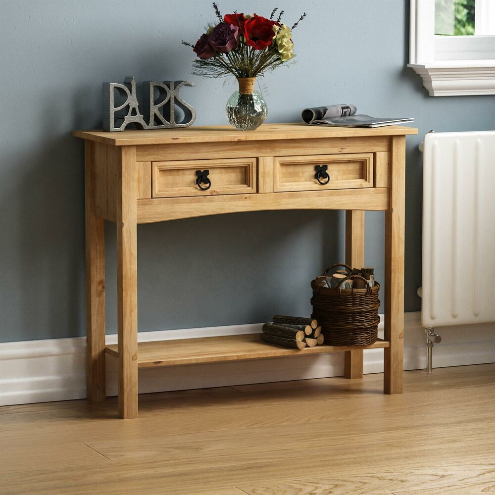corona console table 2 drawer with shelf waxed pine. Black Bedroom Furniture Sets. Home Design Ideas