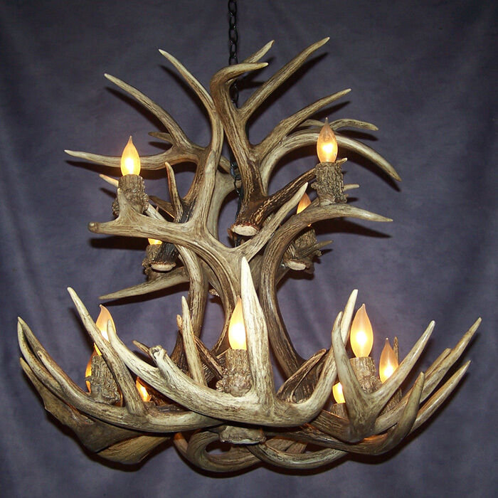 REAL ANTLER CASCADE WHITETAIL DEER CHANDELIER, 12 LAMPS, Rustic Lights : eBay