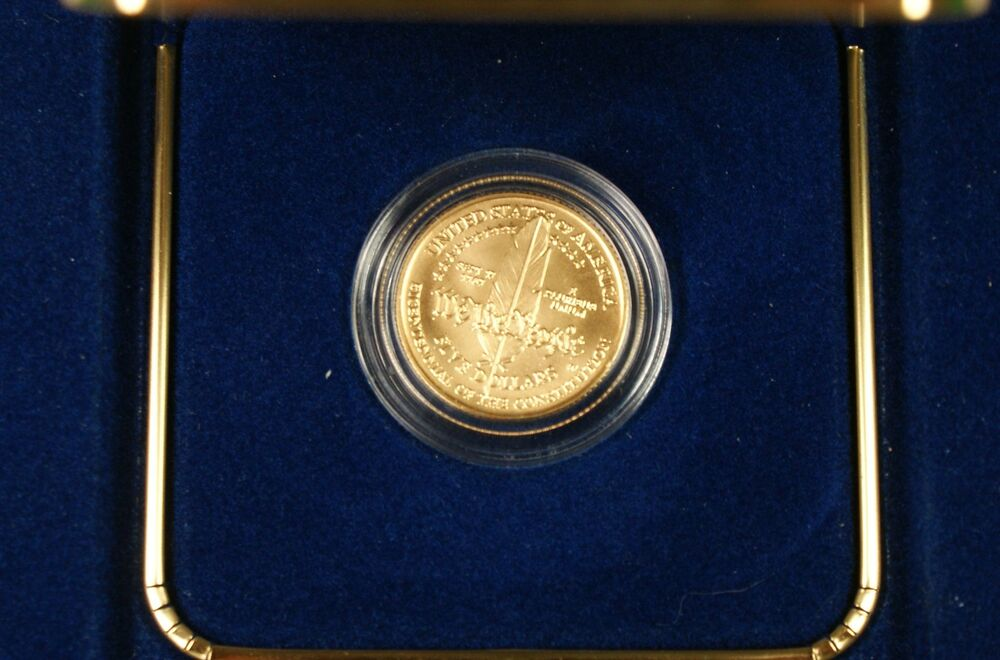 1987 U S Mint Constitution 5 Gold Bu Commemorative Coin