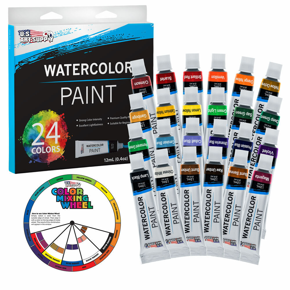 Us art supply 24 color 12ml tube artist watercolor paint for Fast drying craft paint