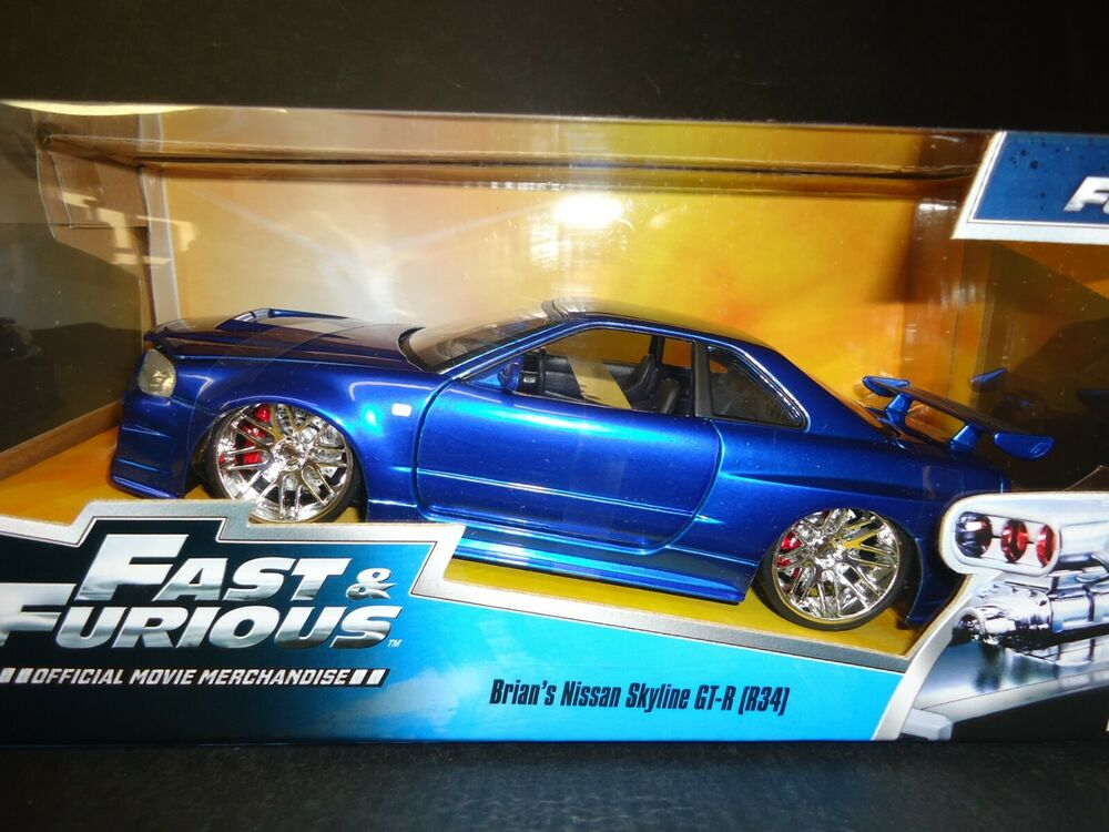 jada nissan skyline gt r r34 brian s blue fast and furious 1 24