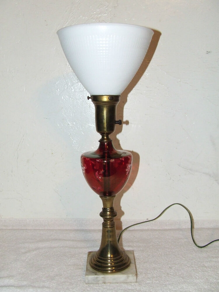 antique etched cranberry glass font table lamp 87970